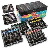 Arteza Coffret peinture acrylique | 60 tubes de couleurs (22ml) | Pigments riches | Haute qualité | Non Toxique | Pour artistes professionnesl, peintres amateurs et peinture enfant