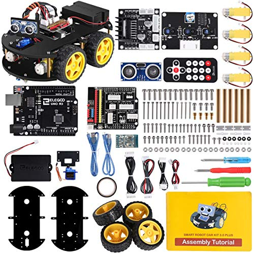 ELEGOO UNO R3 Project Smart Robot Car Kit V 3.0 Plus with UNO R3, Line Tracking Module, Ultrasonic Sensor, IR Remote Control etc. Intelligent and Educational Toy Car Robotic Kit for Arduino Learner