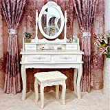 White Vanity Jewelry Makeup Dressing Table Set W/Stool 4 Drawer Mirror Wood Desk