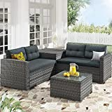 Outdoor Patio Furniture Sofa Set, 4 Piece All-Weather Rattan Conversation Sectional Sofa Set with Storage Box and Cushions (Gray)