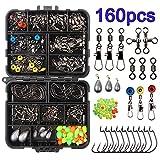 160pcs/boîte Kit d'accessoires de pêche, y compris les crochets, Bullet Baisse Plomb, différents...