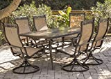 Hanover MONDN7PCSW-6, 6 Sling Swivel Rocker Chairs and 40' x68 Rectangle Table Monaca 7-Piece Cast Aluminum Outdoor Patio Dining Set, 68 x 40, Bronze/Tan