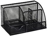 Greenco Mesh Office Supplies Desk Organizer Caddy, 6 Compartments, Black