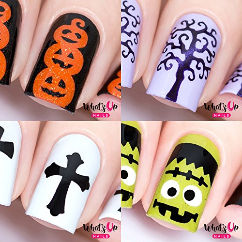 Halloween Nail Stencils 4pcs (Frankenstein's Monster, Pumpkin Topiary, Scary Tree, Gothic)