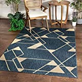 Well Woven Prosa Blue & Beige Indoor/Outdoor Flat Weave Pile Geometric Triangles Pattern Area Rug 8x10 (7'10' x 9'10')