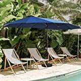 Patio Festival Double-Sided Outdoor Umbrella,15x9 ft Aluminum Garden Large Umbrella with Tilt and Crank for Market,Camping,Swimming Pool (Middle, Blue)