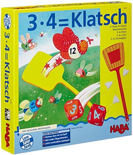 HABA 4538 - 3X4=Klatsch, lustiges Lernspiel für 2-6 Spieler ab 8 Jahren, Konzentrationsspiel zum spielerischen Trainieren des kleinen Einmaleins