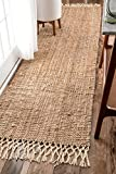 nuLOOM Raleigh Hand Woven Wool Runner Rug, 2' 6' x 10', Natural