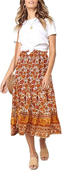 long cute boho skirt orange