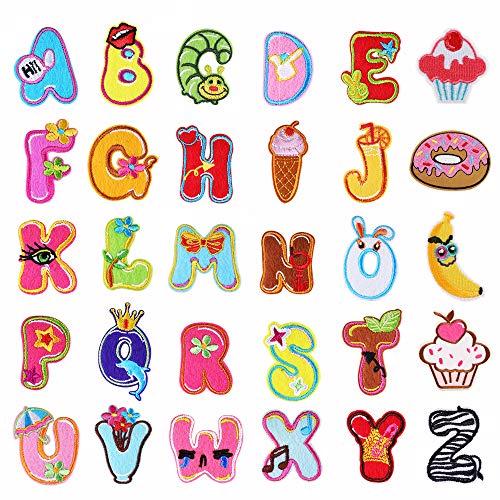 26 parches con letras del alfabeto A-Z para planchar o coser en la ropa, vaqueros, etc., con diseño de bonitos animales