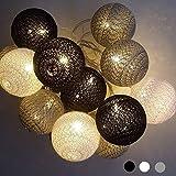 Guirlande Lumineuse Coton Boules - 3,8M 20 LED Chaîne Lumière Avec Prise pour Chambre Rideau Fête Noël Anniversaire Halloween Mariage Chambre de Bébé Romantique Décor