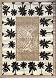 Palm Tree Modern Area Rug Tropical Beige & Green Design 729 (8 Feet X 10 Feet)