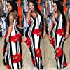 Women's Sexy Print Maxi Dress for Evening Party Summer Straps Sundress Red 3X #4