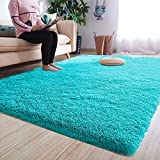 Noahas Luxury Fluffy Rugs Ultra Soft Shag Rug for Bedroom Living Room Kids Room, Child and Girls Shaggy Furry Floor Carpet Nursery Rugs Modern Indoor Home Decorative, 4 ft x 5.3 ft, Teal Blue