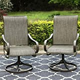 PHI VILLA Patio Swivel Dining Chairs Outdoor Kitchen Garden Metal Chair withTextilene Mesh Fabric, Patio Furniture Gentle Rocker Chair Set of 2