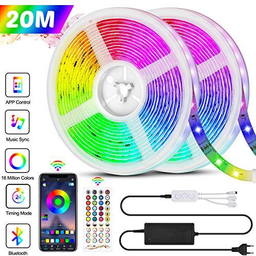 Bonve Pet 20M LED Streifen RGB 5050, Bluetooth Musikalische LED Strip 24V 600 LEDs, LED Lichtband, Musikalische Funktion, APP-Steuerung und Fernbedienung 40 Tasten, 16 Millionen Farben