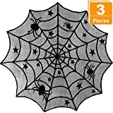 Blulu 3 Pieces Halloween Lace Spiderweb Tablecloth Fireplace Mantle Table Runner Round Spider Web Table Cover Topper for Halloween Home Party Decor (Style Set 2, Size Set 2)