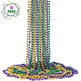 FAVONIR Mardi Gras Assorted Beaded Necklace 12 Pack of Metallic RoundMulti Colors Costume Necklace Accessory 33 Inch 7 mm– for Events and Party Favor Novelty