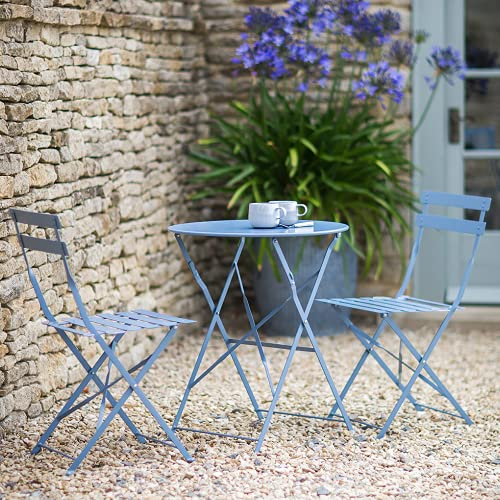 PiuShopping Set da Pranzo per Giardino, in Acciaio con Tavolo Rotondo E 2 SEDIE Pieghevoli (Azzurro)