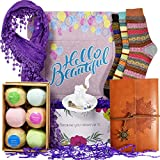 Birthday Gift Baskets for Women - Includes Journal for Women, Ring Holders for Jewelry, Bubble Bath for Women, Warm Socks, and Womens Scarves for Wife, Friend, Aunt, Sister, Daughter