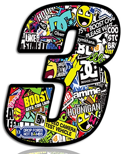 Biomar Labs® Número 3 DC Bomb Calavera Vinilo Adhesivo Pegatina Coche Auto Motocross Moto Sport Start Racing Tuning N 203