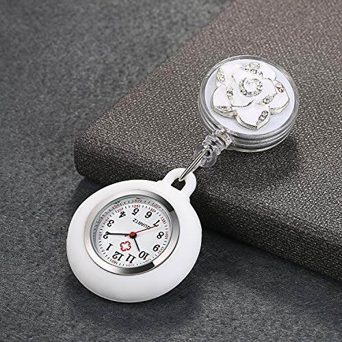 1-3 Pack Retractable Nurse Watch with Second Hand for Women Clip on Lapel Hanging Nurses Watch Badge Stethoscope for Nurses Fob Pocket Watch with Silicone Cover