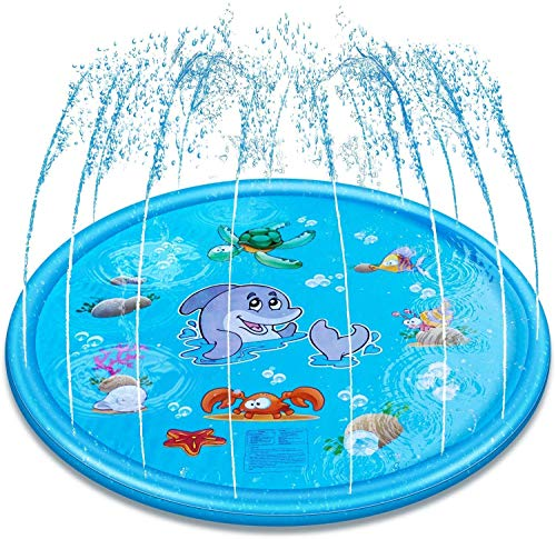 Splash Play Mat for Kids, Inflatable Splash Sprinkler Pad for Kids Toddlers, Outdoor Inflatable Sprinkler Water Toys, Childrens Sprinkler Pool for Baby Wading Pool for Toddlers, Baby, Boys and Girls