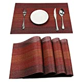 Pauwer Placemats Set of 4 for Dining Table Washable Woven Vinyl Placemat Non-Slip Heat Resistant Kitchen Table Mats Easy to Clean