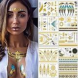 Tatouages Temporaires – Meersee 10 Planches de Tatouages éphémères métalliques Étanche brillants motifs variés