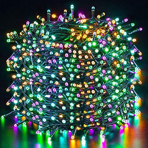 Guirnalda Luces 100M 1000LED, Multi-colores LED Luz Cadena Ligera Navidad Quntis Cadena de Luces Impermeable IP44, Luces de Hadas para Decorativas, Navidad, Habitacion, Fiesta, Jardín, Bodas, Césped