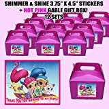Shimmer and Shine Genies Party Favor Boxes with Thank you Decals Stickers Loots Hot Pink Birthday Shower 12 PIECES GREAT SELLER
