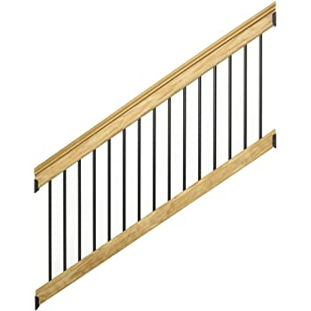 6 Ft Pressure Treated Stair Railing Kit With Black Aluminum   Wood Railing With Metal Balusters   Metal Baluster Drywall   Modern   Tree Branch Iron   Before And After   Deck