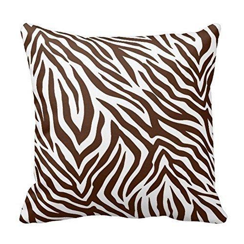 MAY-XCustom-Pillowcase Marrón Y Blanco Estampado De Cebra Rayas Animal Print Throw Pillow Case Decoración Funda De Cojín 18 X 18 Pulgadas / 45X45Cm Cuadrado Dos Lados