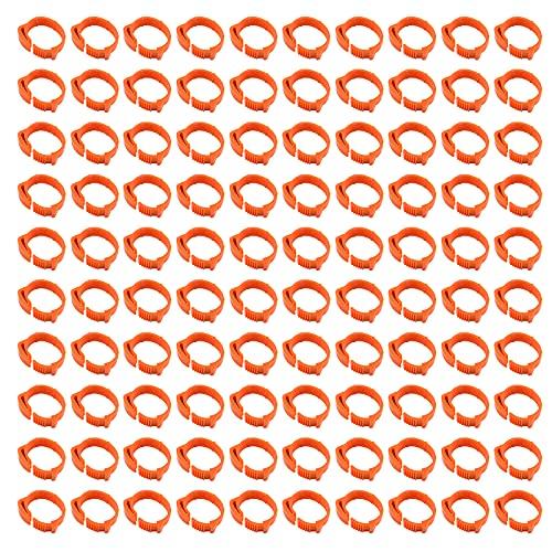 Hwtcjx anillas para palomas, anillas para gallinas, 100 piezas anillos pajaros, Hecho de plástico, duradero, diseño de hebilla, con número 1-100, para pollo, pato, ganso (D: 1.8-2.6cm, naranja)