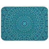 Teal Boho Mandala Absorbent Dish Drying Mats for Kitchen Counter Microfiber Dish Drying Mat - 18x24In