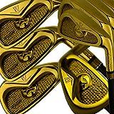 Japan WaZaki 14K Gold Finish Cyclone III 4-SW Mx Steel Hybrid Irons Golf Club Set with Headcover,Regular Flex,65g Graphite Shaft,RH,Pack of 16