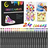 Gifort pennarelli per Stoffa, 24 Colori Pennarelli per Tessuti Permanente, Penne per Tessuti Non...