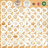 Konsait 50Pack Cake Stencil Templates Decoration, Reusable Cake Cookies Baking Painting Journal Mold Tools, Dessert, Coffee Decorating Molds Cappuccino Mousse Hot Chocolate for DIY Craft Decor