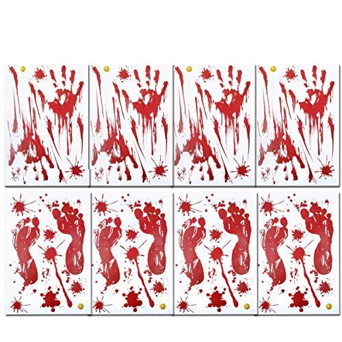 AniSqui Halloween Blutige Hände Fensteraufkleber, (8 Blatt Halloween Sticker Aufkleber), Realistisch Wirkende Schaurig Blutige Sticker, Halloween Dekoration by