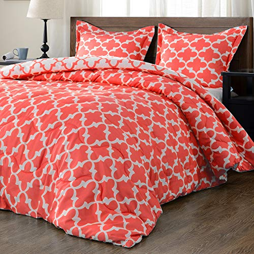 downluxe Lightweight Printed Comforter Set (Twin,Coral) with 1 Pillow Sham - 2-Piece Set - Down Alternative Reversible Comforter