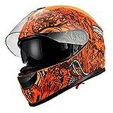 1Storm Motorcycle Full Face Helmet Dual Lens/Sun Visor Matt Skull Orange