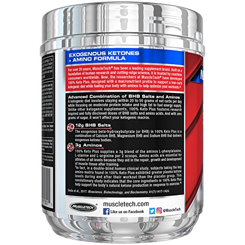 MuscleTech 100% Keto Plus Ketones Supplement, Exogenous Ketones & Aminos, Sour Peach Candy, 35 Servings (342g) 4