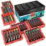 Arteza Pinturas de acuarela de calidad   Set de 60 colores   Tubos de 12 ml   Acuarelas de colores para artistas, estudiantes y principiantes