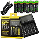 Nitecore D4 4 Slot Smart Battery Charger for Li-ion, IMR, LiFePO4 26650 18650 18350 16340 RCR123 14500 Ni-MH Ni-Cd AA AAA AAAA C Batteries w/ 8 x EdisonBright Ni-MH Rechargeable AA Batteries Bundle