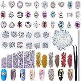 Duufin 13320 Piezas Diamantes de Imitacion 3D Cristales para Uñas AB Pedrería con Pinza y Plumas de Uñas para Decoración de Arte de Uñas