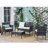 Ensemble Salon de Jardin Table en Verre + 1 Canapé 2 Places + 2 Fauteuils en...