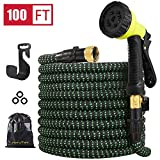 HIYUTOY Garden Hose Expandable Hose - Heavy Duty Flexible Leakproof Hose-10-Pattern High-Pressure Water Spray Nozzle & Bag & Plastic Holder.No Kink Tangle-Free Pocket Water Hose (100)