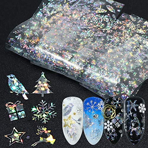 Snowflakes Nail Art Foils 3D Holographic Winter Nail Sticker Decals Word Snow Fireworks Christmas Foils Transfer Nail Supply Nail Decorations for Women Kids Girls Nail Foils Nail Arts (10 Sheets )…