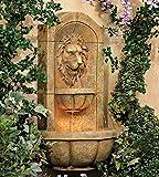 John Timberland Lion Head Faux Stone 29 1/2' High LED Wall Fountain