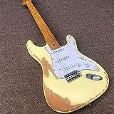 CJWSLYT Chitarra Chitarra Elettrica, Maple Neck Yellow Paint Acoustic Steel Guitars Guitars Chitarra Classica Chitarra elettrica (Color : Guitar, Size : 41 Inches)